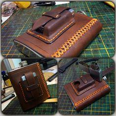 Handcrafted leather cover with Zippo-case for steel flask. Фляжка с карманом для Zippo, кожа растительного дубления.