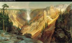 Thomas Moran Grand Canyon of the Yellowstone painting is shipped worldwide,including stretched canvas and framed art.This Thomas Moran Grand Canyon of the Yellowstone painting is available at custom size. Cool Landscapes, Landscape Paintings, Landscape Art, Western Landscape, Summer Landscape, Canvas Paintings, Landscape Design, Yellowstone National Park, National Parks
