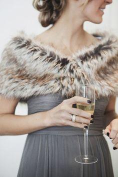 Faux Fur Winter Wrap for Bridesmaid / http://www.deerpearlflowers.com/faux-fur-winter-wedding-ideas/