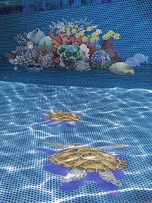 Glass turtle mosaics with shadow installed in an all tile pool.