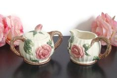 Fitz and Floyd Pink Rose Sugar and Creamer Set by RamblinRanch