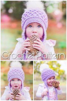 Stunning crochet beanie pattern with lattice detail Crochet Beanie Pattern, Crochet Baby Hats, Crochet Gifts, Baby Blanket Crochet, Baby Knitting Patterns, Crochet For Kids, Diy Crochet, Crochet Toys, Crochet Patterns