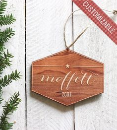 Custom Name & Date Wood Holiday Ornament | Collections Happy Holidays | Richwood Creations | Scoutmob Shoppe | Product Detail
