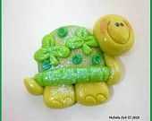 *POLYMER CLAY ~ Bead or Bow Center Shamrock Turtle