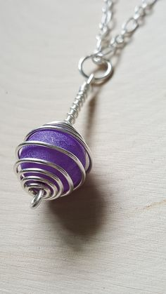 Sterling Silver and Purple Agate Necklace, Gemstone Cage Necklace, Agate Pendant Necklace, Gemstone Necklace, Cage Pendant Necklace