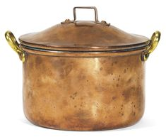 WAR: A FABERGÉ COPPER COOKING POT, 1914 cylindrical with two brass handles, the domed lid with squared handle, the base stamped Fabergé and War in Russian beneath the Imperial Warrant and dated 1914