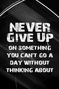 Never give up on something you can't go a day without thinking about. - Unknown