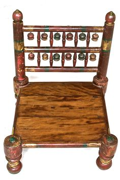 Indian Hand Painted Low Meditation Chair w/Kilim-Covered ...