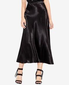 Vince Camuto Satin Maxi Skirt - Gray 10