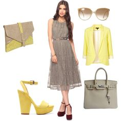 Yellow/Gray, created by melodyarmijo on Polyvore