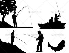 Fishing #GraphicRiver Silhouettes of fishermen of black colour. A vector…