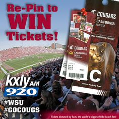 Re-Pin this official #GoCougs #WSU image to win the grand prize: 2 Tickets to Cougars Home Game on Saturday, October 13th plus parking passes. Grand Prize winner announced during KXLY 920 Morning News on Friday, October 12th. Please feel free to re-pin this numerous times. Good Luck. Click on this official Pin To Win Image for Contest Rules or check out this link: http://storify.com/kxly920/kxly920-wsu-gocougs-pin2win-contest