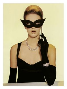 """""""A Girl's Best Friend"""" Mona Johannesson photographed by Luciana Val & Franco Musso for Numéro Magazine May 2005 Mask Cat, Azul Tiffany, Masquerade Party, Masquerade Masks, Black Mask, Poses, Girls Best Friend, Sunglasses Women, Fashion Photography"""