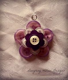 Button Flower Pendant FOR SALE @ Laughing Willow Designs Button Crafts --- DIY gift ideas from buttons --- Diy Buttons, Vintage Buttons, Button Art, Button Crafts, Crafts To Make, Arts And Crafts, Diy Crafts, Button Necklace, Button Flowers