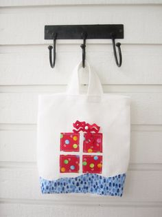 Linen white Christmas gift bag decorated with gift by poppyshome, $14.00