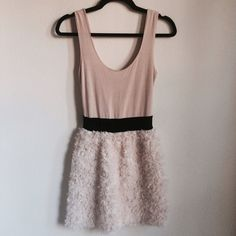 🎉HP🎉Zara blush rose dress Zara beautiful dress with detailed fabric. Very comfortable and in excellent condition! Polyester, Acetate, Elastane Zara Dresses Mini