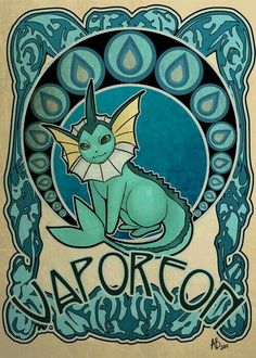 Art Nouveau of Vaporeon! I hope you all like! Glaceon is going to be next! Pokemon does not belong to me. Play Pokemon, Pokemon Fan, Cute Pokemon, Eevee Evolutions, Pokemon Eeveelutions, Art Nouveau, Lugia, Pokemon Pictures, Catch Em All