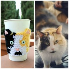 Custom Crochet  Cat Cup Sleeve Cozy by HandmadeReverie on Etsy
