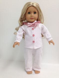 Polka dot pjs in a soft flannel. Chloe's Closet, Pjs, Flannel, Doll Clothes, Polka Dots, Rompers, Sewing, Dresses, Fashion