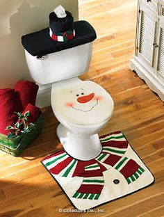 Cheap set for bathroom, Buy Quality set of directly from China cover covers Suppliers: 2016 Snowman Santa Toilet Seat Cover And Rug Set for Bathroom Christmas Decorations Set of 3 Adornos Navidad Natal Christmas Snowman, Christmas Holidays, Merry Christmas, Christmas Ornaments, Christmas Cover, Happy Holidays, Diy Xmas, Homemade Christmas, Christmas Crochet Patterns