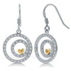 Women 925 Sterling Silver Drop Earrings Clear Cubic Zirconia Gold Heart Circle  #HeartDangleEarrings #DropDangle