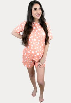 Mother's Day with a Bump 2021 % - Sexy Mama Maternity Casual Maternity Outfits, Maternity Fashion, Maternity Style, Maternity Sleepwear, Pregnancy Months, Comfy Shorts, Sleepwear Sets, Star Print, Rompers