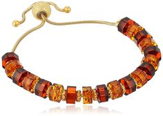 Gold Plated Sterling Silver Multicolor Amber Adjustable Link Charm Bracelet * You can get more details by clicking on the image.
