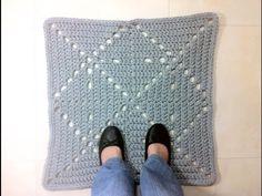 Tutorial cómo hacer alfombra cuadrada de trapillo a ganchillo