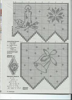 Christmas crochet filet charts Crochet Curtain Pattern, Crochet Curtains, Curtain Patterns, Crochet Doilies, Crochet Lace, Crochet Carpet, Fillet Crochet, Christmas Crochet Patterns, Chrochet