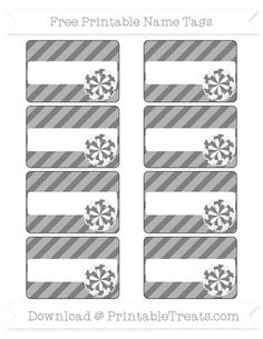 Free Grey Diagonal Striped  Cheer Pom Pom Name Tags
