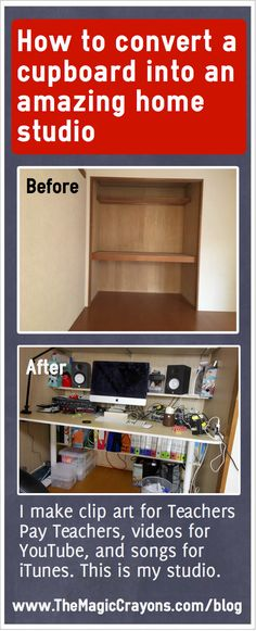 This is how I built the studio where I create all my flipped classroom videos. I converted a cupboard into a studio!