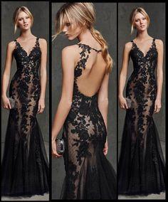 Neu Schwarz Spitze Mermaid Abendkleid formales Kleid Prom Brautkleid Größe 32-46