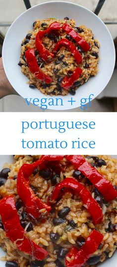 This Portuguese Tomato Rice is hearty and satisfying enough to make up a whole meal, but also works really well as a side dish. Vegan and gluten-free.