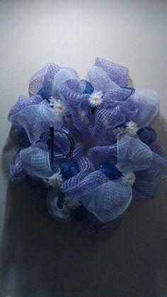 Purple flower mesh wreath, made by DanaRae De La Cruz