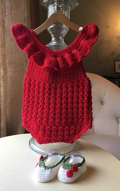 Crochet Patterns Onesie Red cotton baby romper with matching cherry shoes for a baby shower gift! Crochet Onesie, Baby Girl Crochet, Crochet Baby Clothes, Knit Crochet, Crochet Hats, Baby Patterns, Crochet Patterns, Disney Baby Clothes, Crochet Photo Props