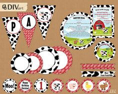 PRINTABLE Barnyard Party Set - Party Tags, Food Labels, Place Cards, Cupcake Wraps, Party Circles, Party Banner by DIVart