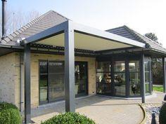 Biossun benelux project terrasoverkapping pergola couverture de terrasse aangebouwd aan vaste woning/ construit sur la maison solide