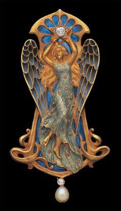 Antoine Bricteux 'Etoile' An Important Art Nouveau Pendant - Gold Plique-à-jour Enamel Diamond Pearl,  French, c.1900, Fitted Case, Executed by Arthur Eugene Archambaut