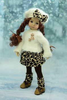 """""""Angora Kitty"""" Winter Outfit, Dress for 13"""" Dianna Effner Little Darling #LuminariaDesigns"""