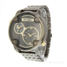 Our Beautiful Posh Gunmetal Watch just Sold Out    - Sporty dual-movement face design  - Plated in a masculine gunmetal  - Face features exclusive POSH design  - Bracelet and full casing made in stainless steel  - Water resistant up to 5 ATM  - Extra links available  - Japanese dual movement    Dimensions  Face: 45mm diameter    LIMITED STOCK REMAINING. MADE WITH GUN METAL.    POSH by FERI - Passion for Fashion - Luxury fashion jewelry for the designer in you.      Please visit…