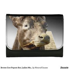 Brown Cow Popout Art, Ladies Med Leather Wallet