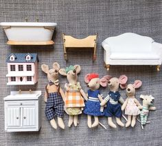 I've had a few questions about the best #maileg mice to buy for 1:12 sized dollhouses. This is the complete Maileg mouse family from @sweetcreationsboutique that I will be gifting my daughter with the dollhouse in January. I have placed them amongst store bought 1:12 furniture so that you can see the sizes in scale. From left to right there is (descriptions match store descriptions): Maileg mum and dad mice (who come together), big sister mouse, big brother mouse, little sister mouse, baby…