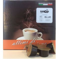 SNEP BLU Capsule di caffè (Lavazza blu compatibili)  Miscela di caffè 100% Arabica, espressione del classico caffè all'italiana, per clienti particolarmente esigenti. Aroma intenso gusto morbido e delicato, a basso contenuto di caffeina che si arricchisce con una il prezioso Ganoderma lucidum extrat (Reishi) (200 ml per caffè) può contribuire ad un energico risveglio dei sensi e al miglioramento dei processi ossidativi
