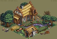 Water-Mill Pixel Artist: zi-double Source: pixeljoint.com