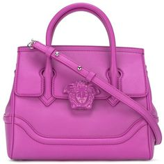 Versace Palazzo Empire tote ($2,066) ❤ liked on Polyvore featuring bags, handbags, tote bags, purple, tote handbags, clasp purse, purple tote, clasp handbag and pattern tote bag