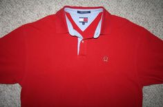 XL SS Tommy Hilfiger red cotton Mens Choice men solid polo shirt short sleeve #TommyHilfiger #PoloRugby