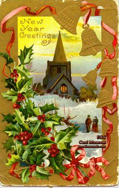 "Mfg. A. M. P.  Co.  Circa: Postmarked December 27, 1911  Embossed Postcard with Gold Foil  reads: ""New Year Greetings""."