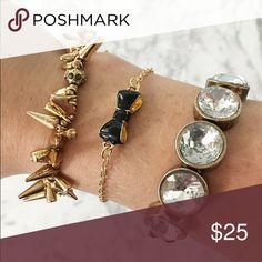 "kate spade bow bracelet black gold * Gold kate spade black bow bracelet  * Authentic with tags attached  * Bracelet measures 7"" - 9"" adjustable length  * Bow measures .75""   * BUNDLE to receive 10% discount kate spade Jewelry Bracelets"