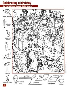 Hidden Picture Games, Hidden Picture Puzzles, Hidden Object Puzzles, Hidden Objects, Colouring Pages, Coloring Pages For Kids, Coloring Books, Kindergarten Activities, Activities For Kids