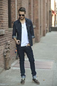 Denim on denim + amazing shoes! #menswear #style #denim #shirt #footwear #shoes